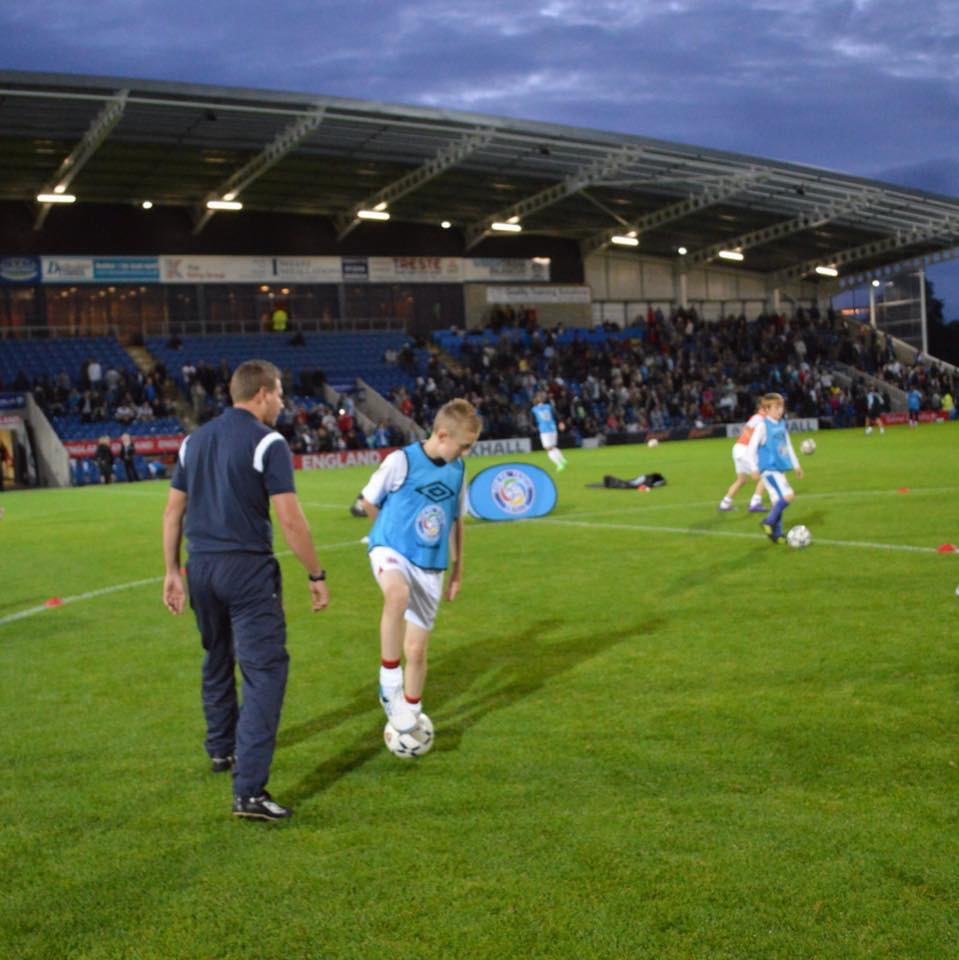Coaching before an England U21 game at Chesterfield's Proact Stadium